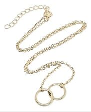 "Karma Circle Rings Pendant Gold Plated Infinity Linked Chain 18""+ Necklace"