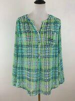 Liz Claiborne Womens Tunic Top Large Green Dots Long Sleeves Semi Sheer Blouse