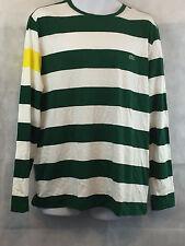 Lacoste Men's Striped Long Sleeve T-Shirt, Green/White/Yellow, XXL