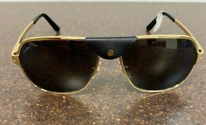 Cartier Santos Sunglasses CT0165S 002 Gold Metal Frame Black Polarized Lens 60mm