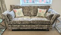Knoll sofa suite drop arm 3 + 2 +1 chair In brown mirrored Velvet British made