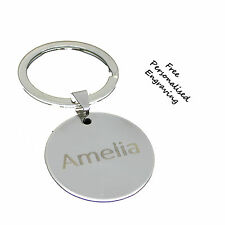 Personalised Disc Circle Keyring any name or date birthday Anniversary Key Gift