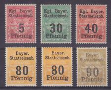 Bavaria MNH. 6 diff Staatseisenb. fiscals circa 1880, VF