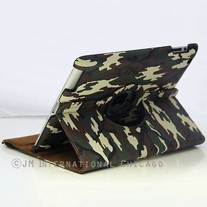 Apple Military Army Camouflage Leather Case 360 Rotating Stand Cover iPad 2 3 4