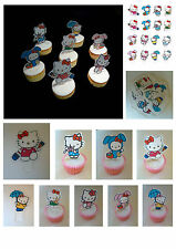 24 Hello kitty small Edible Cupcake Toppers Stand ups Wafer Card DIY Decorations