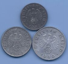 Germany Nazi Third Reich Nazi Swastika Coin Lot of Three coins  WW2 ERA #28