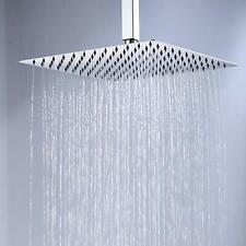 "Stainless Steel 16"" Square Rain Shower Head Top Sprayer Ceiling Mount Shower Arm"