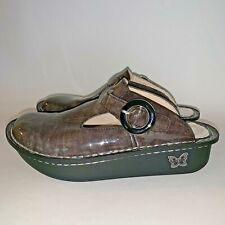 Womans Algeria 5 Green Brown Glossy Leather Mules Clogs Shoes DON 129 Slip On