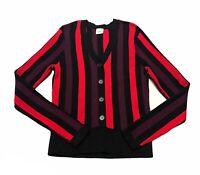 CAbi Royal Pullover Purple Red Black Stripe Long Sleeve Sweater Sz M Style 3538