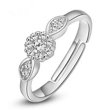 Women's 925 Sterling Silver Zircon Ring Sizable Spinner Fashion Charm Jewelry