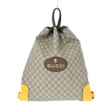Auth GUCCI GG Supreme Canvas Drawstring Bag Backpack 473872 PVC Leather