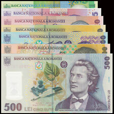Romania set 7 PCS, 1 5 10 50 100 200 500 Lei, 2005, Polymer, UNC