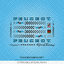 Peugeot Tandem Bicycle Decals - Transfers - Stickers - Blue & Black - Set 765