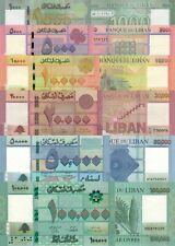 Lebanon 6 PCS Set: 1000 to 100000 Livres (2019) p-92b, p-93, p-94, p-95 UNC