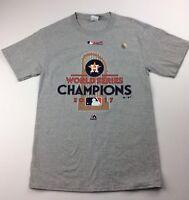 Majestic Mens Size Small Houston Astros Gray World Series Champion T Shirt MLB