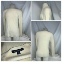 Brooks Brothers Sweater S women Ivory 100% Wool Scoop Cable Mnt YGI E0-250