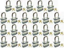 "Lock Set by Master 5KALF (Lot of 23) KEYED ALIKE 1-1/2"" Long Shackle Padlocks"