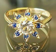 Retro Flower shaped dress ring hallmarked 9ct gold circa 1969, Free shipping Mz