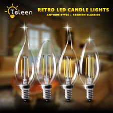 E14 4W 8W Edison Retro Filament COB LED Bulbs Vintage Candle/Flame Light Lamp C