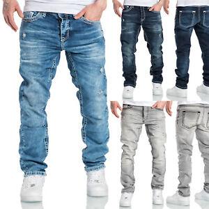 Herren Dicke Nähte Destroyed Jeans Regular Slim Denim Hose Fit 7983WD