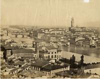 Italie, le Fleuve Arno à Florence Photo Vintage Print,  Tirage albuminé  1
