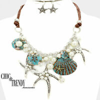HIGH END SEA LIFE STARFISH VERY CHUNKY FASHION NECKLACE JEWELRY SET CHIC TRENDY