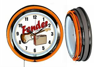 "FENDER GUITAR AMP 19"" Double Neon Clock Orange Man Cave Garage Bar Music Band"