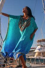 NEW Embellished Long Kaftans Plus Size O/S Size14- 26 Petite Fleur Aqua Viscose