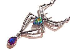 GOTHIC SPIDER NECKLACE watermelon rainbow topaz crystal halloween silver 6A
