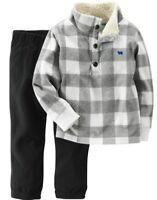 Carter's Boys Gray & White Sherpa Fleece Pullover & Black Pants 2pc Set NWT $24