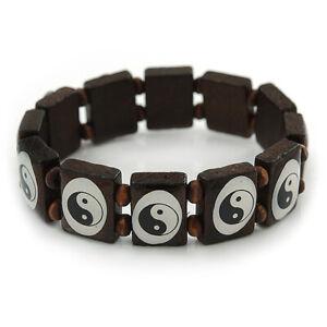 'Yin Yang' Stretch Brown Wooden Bracelet - Adjustable