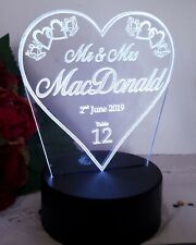 Perspex Wedding Personalised Led Light Table Number Bride & Groom Laser Cut