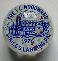 1976 Vintage Art Glass Paperweight-  The I.C. Woodward, Rice's Landing, PA