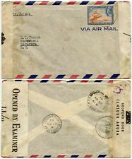 BRITISH GUIANA INCOMING CENSORED AIRMAIL from CURACAO MAY 1944 25c SINGLE