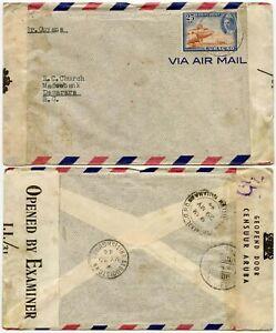 BRITISH GUIANA INCOMING CENSORED AIRMAIL from CURACAO MAY 1944 25c SINGLE
