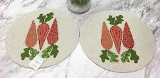 NWT (2) TWO Cynthia Rowley Glass Beaded Carrot Placemats Garden Spring 15""