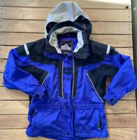 Vintage Couloir Womens  zip Up hooded ski Jacket Coat size  8 blue/black