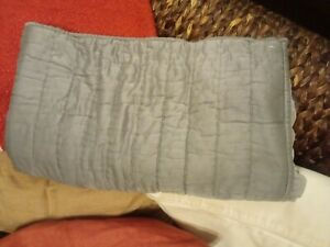 NEW Pottery Barn Tencel Cotton Silk Channel Quilted Sham KING 2 tone Gray Mist