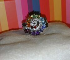 Chuck Clemency NYCII Sterling silver Exotic Rainbow Gemstone Swirl cluster Ring