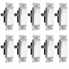 10 Pack Illuminated Rocker / Paddle Switch Single Pole 15A Home Decor, White