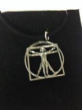 DA VINCI VITRUVIAN MAN DVMKR   Motif Pewter  PENDENT ON A  BLACK CORD  Necklace