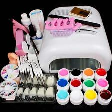 Full Set 36W White Cure Dryer Lamp & 12 Color UV Gel Nail Art Tips Tools Kits #M