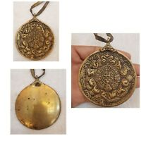 Very Unique And Rare Old Bronze Tibetan Buddha rayer Lucky Amulet Pendant