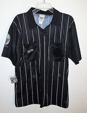 NEW blacks/s  referee jersey with white pinstripes by Official Sports sz M