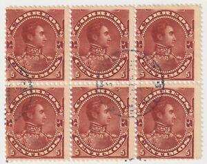 1893 Venezuela - Simon Bolivar - Block 6 x 5 Centimos Stamps