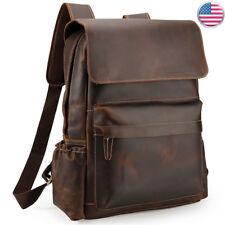 """Vintage Leather Backpack Men Travel 16"""" Laptop Satchel Daypack Book Shoulder Bag"""