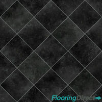 Non Slip Black Diamond Tile Effect Vinyl Flooring Lino Kitchen Bathroom 3m & 4m