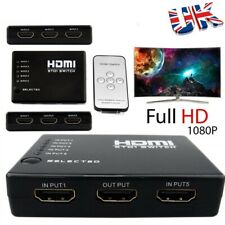 5 Port HDMI Switch Splitter Hub 1080P Video Remote control+Power cable PS4 Xbox
