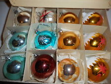 12 LARGE GLASS GLITTER FROSTED PLAIN GOLD BLUE BALL CHRISTMAS TREE BAUBLES BOXED