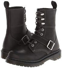New Womens US Size 6 Doc Dr. Martens HILDA Short Strap Black Leather Boot   UK 4